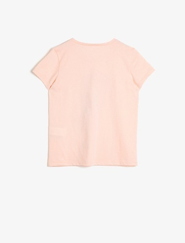 Koton Kids Baskili T-Shirt Pembe